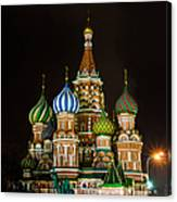 Vasily The Blessed Cathedral At Night - Featured 3 Canvas Print