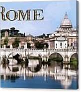 Vatican City Seen From Tiber River Text  Rome Canvas Print