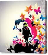 Vector Floral Girl Canvas Print