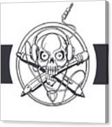Vector Illustration Of A Black Skull Canvas Print