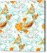 Vector Seamless Pattern With Koi Fish Canvas Print