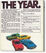 Vega - Car Of The Year 1971 Canvas Print