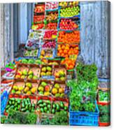 Vegetable And Fruit Stand Canvas Print