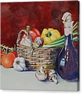 Vegetable Basket With Wine Vinegar Canvas Print