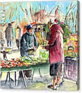 Vegetables Seller In A Provence Market Canvas Print