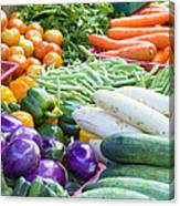 Vegetables Stand In Wet Market Canvas Print