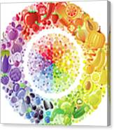 Vegetarian Rainbow Plate Withe Fruits Canvas Print