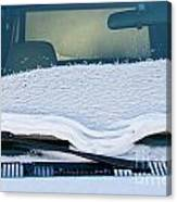 Vehicle Windshield Fresh Snow Thawing Canvas Print