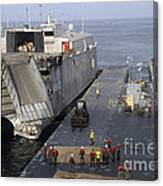 Vehicles Are Transferred Aboard Canvas Print