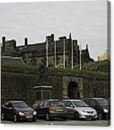Vehicles At The Parking Lot Of Stirling Castle Canvas Print