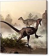 Velociraptors Prowling The Shoreline Canvas Print