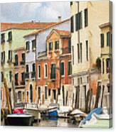 Venetian Apartments Impasto Canvas Print