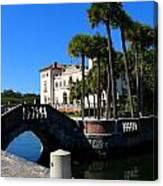 Venetian Style Bridge And Villa In Miami Canvas Print