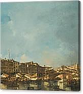 Venice A View Of The Rialto Bridge Looking North From The Fondamenta Del Carbon Canvas Print