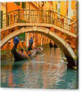 Venice Boat Bridge Oil On Canvas Canvas Print