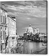 Venice Canal Grande Santa Maria Della Salute Black And White Canvas Print