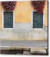 Venice Canal Shutters With Window Flowers Canvas Print