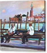 Venice Gondola With Full Moon Canvas Print