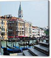 Venice Gondolas On Canal Grande Canvas Print