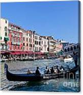 Venice Italy Gondola With Tourists Floats On Grand Canal Canvas Print