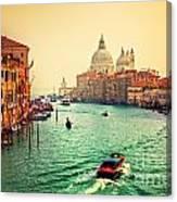 Venice Italy Grand Canal And Basilica Santa Maria Della Salute At Sunset Canvas Print