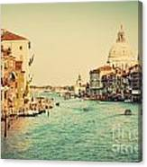 Venice Italy  Grand Canal In Vintage Style Canvas Print