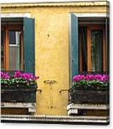 Venice Italy Teal Shutters Canvas Print