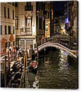 Venice Night By The Canal Canvas Print