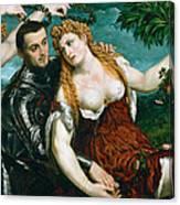 Venus Mars And Cupid Crowned By Victory Canvas Print