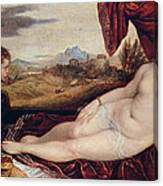 Venus With The Organ Player Canvas Print