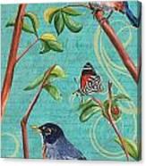 Verdigris Songbirds 1 Canvas Print