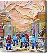 Verdun Back Lane Hockey Practice Montreal Winter City Scen Painting Carole Spandau Canvas Print