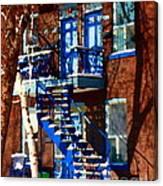 Verdun Duplex Stairs With Birch Tree Montreal Winding Staircases Winter City Scene Carole Spandau Canvas Print
