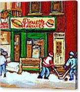 Verdun Hockey Game Corner Landmark Restaurant Depanneur Pierrette Patate Winter Montreal City Scen Canvas Print