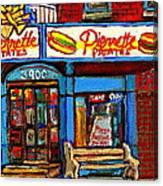 Verdun Restaurants Pierrette Patates Pizza Poutine Pepsi Cola Corner Cafe Depanneur - Montreal Scene Canvas Print