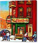 Verdun Street Hockey Pierrettes Restaurant Rue 3900 Verdun -landmark Montreal Hockey Art Work Scenes Canvas Print