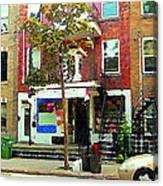 Verdun Variety Store Summer Street Scene Montreal Depanneur Double Staircases Carole Spandau Canvas Print