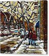 Verdun Winter Row Houses In January Montreal Paintings Time For A Walk Carole Spandau Canvas Print