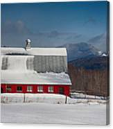 Vermont Barn In Snow With Mountain Behind Canvas Print