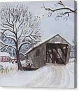 Vermont Covered Bridge In Winter Canvas Print