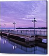 Vermont Lake Champlain Sunrise Clouds Fishing Pier Canvas Print