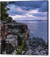 Vermont Lake Champlain Sunset Clouds Shoreline Canvas Print