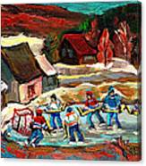 Vermont Pond Hockey Scene Canvas Print