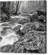 Vermont River Fog Mount Mansfield Black And White Canvas Print