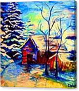 Vermont Winterscene In Blues By Montreal Streetscene Artist Carole Spandau Canvas Print