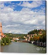 Verona Adige River View Toward Castel San Pietro Canvas Print