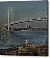 Verrazano Bridge And Fort Wadsworth Canvas Print