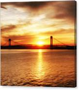 Verrazano Bridge At Sunset Canvas Print
