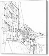 Vertical Amalfi Pencil And Ink Sketch Canvas Print