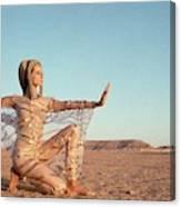 Veruschka Von Lehndorff Posing In A Desert Canvas Print